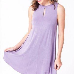 Lavender Keyhole Trapeze Flare Knit Dress